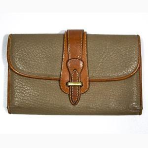 VTG Dooney & Bourke Trifold Leather Wallet Taupe